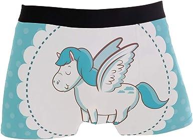 Men Boxer Briefs Polyester Underwear Men 2 Pack Boxer Briefs for Valentines Day with Unicorn Pattern