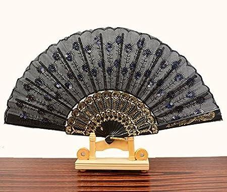 Tian Ran Dai dai colori ricamato fiore modello ventaglio pieghevole tessuto nero 10 CN