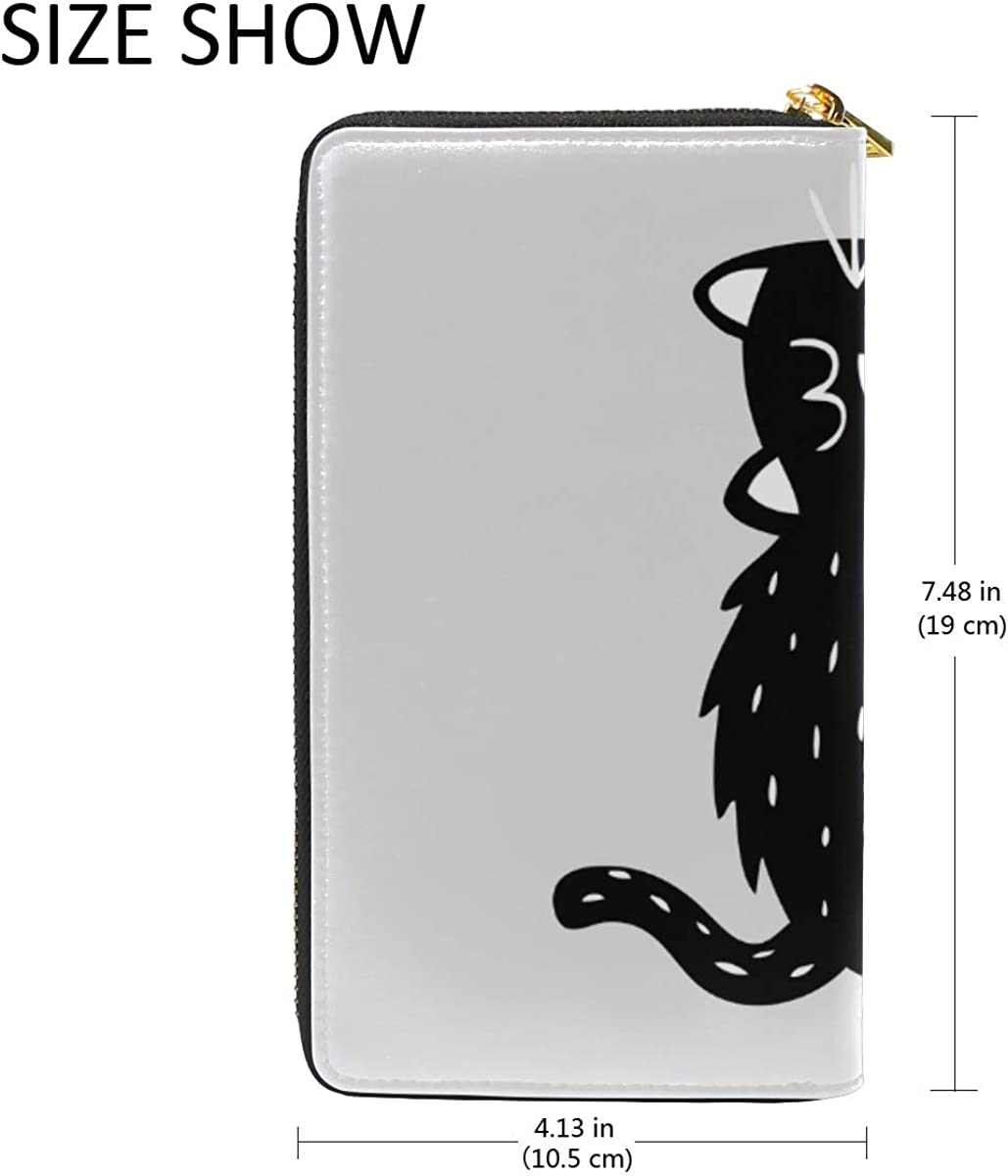 FANTAZIO Clutch Purses for Women Black Cartoon Cat Business Card Case