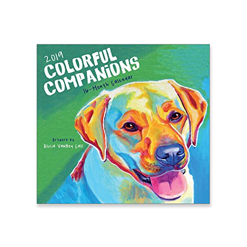 (16 Month Premium Wall Calendar 2019 - Colorful Companions - Each Month Displays Full-Color Illustration. Printed on Linen Embossed Heavyweight Paper)