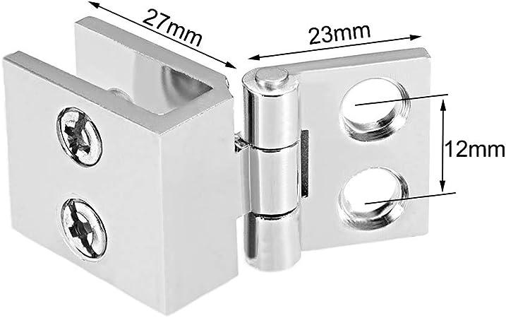sourcingmap/® Bisagra Para Puerta De Vidrio 8-12Mm De Espesor De Pared De Cristal Armario De Metal Presilla De Cierre 2Pcs
