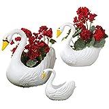 TM Miracle Store Fairy Garden Yard Decoration Plastic Swan Planter Pot Set of 3