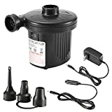 KuanGuang Electric Portable Air Pump, Quick-Fill 110-240V AC/12V DC Air Pump with 3 Nozzles, Ideal Inflator Pump for Inflatable Cushion, Air Mattress Beds, Rafts, Inflated toy, Swimming Ring