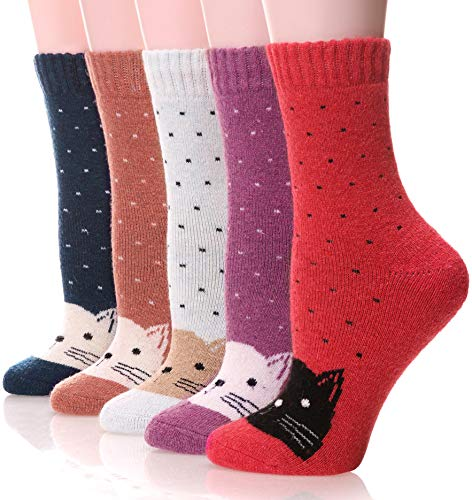 Womens Wool Socks Fuzzy Heavy Thermal Thick Warm Cotton Boot Winter Socks 5 Pairs (Cat)