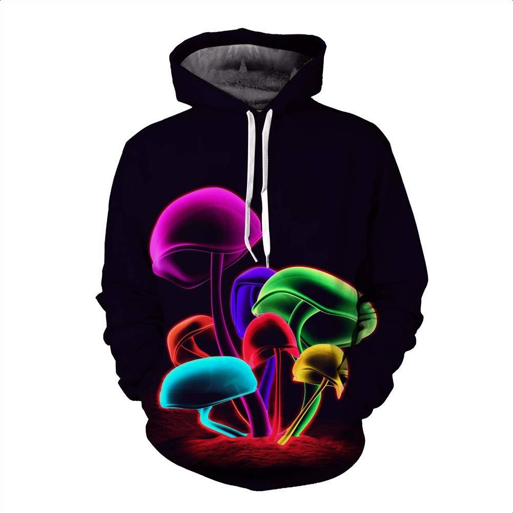 LXJ 3D-Pullover Herbst Kapuzen Sweater 3D Farbe Pilz Print Dünnschliff Kapuze langärmeligen Pullover