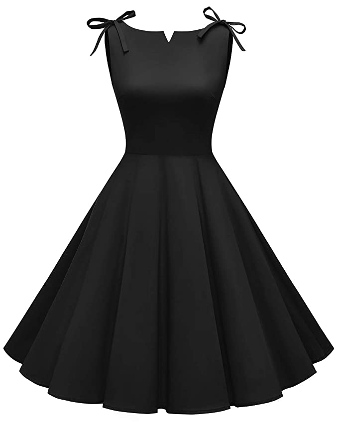 Vintage Evening Dresses and Formal Evening Gowns MUADRESS Womens Retro 1950s Boat Neck Vintage Rockabilly Cocktail Party Dress $27.69 AT vintagedancer.com