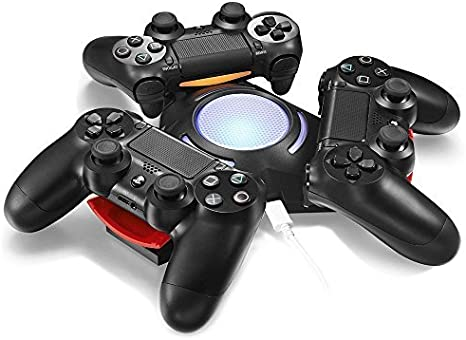 Megadream? Portable Triangle 3 PS4 Controller USB Charger Docking Charging Station Stand with Non-slip Mat & Blue LED Light, Synchronous Charging Dock for Sony PlayStation 4 DualShock - Black by Megadream: Amazon.es: