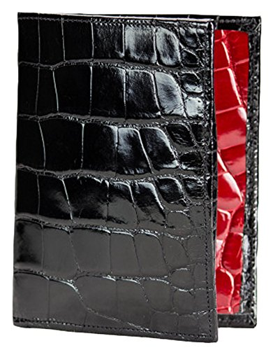Passport Wallet in Black and Red Alligator by John Allen Woodward