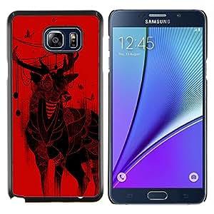 YiPhone /// Prima de resorte delgada de la cubierta del caso de Shell Armor - Ciervos de la Navidad arte Dibujo Mariposas rojas - Samsung Galaxy Note 5 5th N9200