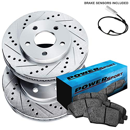 Fit BMW 545i, 645Ci, 550i, 650i, 535i Rear Drill Slot Brake Rotors+Ceramic Pads (Bmw F10 Rear Brake Pad Replacement Cost)