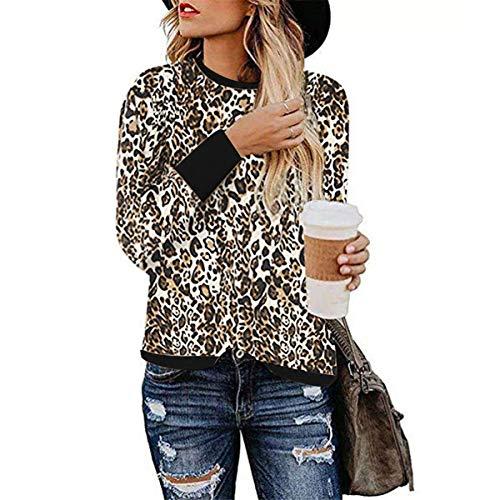[해외]Thenxin Women`s Leopard PrintSolid Color Long Sleeve Crew Neck Fit Casual Sweatshirt Pullover Tops / Thenxin Women`s Leopard PrintSolid Color Long Sleeve Crew Neck Fit Casual Sweatshirt Pullover Tops(Brown,XXL)