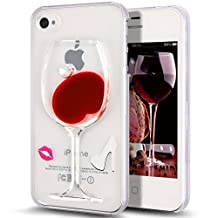 Nsstar iPhone 4s Case,Liquid Case for iPhone 4S,Case for iPhone 4s,Case for iPhone 4,Hard Case for iPhone 4s,Fashion Creative 3D Design Flowing Liquid Red Wine Glass Red Lip High Heels Clear Back Hard Case Cover for Apple iPhone 4 4S (Red Wine Glass Lips)
