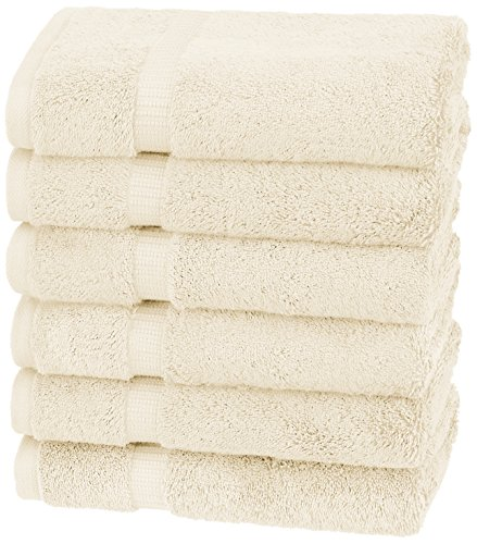 Pinzon Organic Cotton Hand Towels (6 Pack), Ivory by Pinzon by Amazon