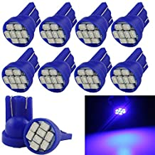 Grandview Blue T10 LED Car Light Bulbs W5W 194 192 168 2825 Wedge 8-SMD 1206 LED Car Replacement Bulbs Side Marker Dome Map Interior Lamps Auto Car Truck LED Light 12V 10-Pack