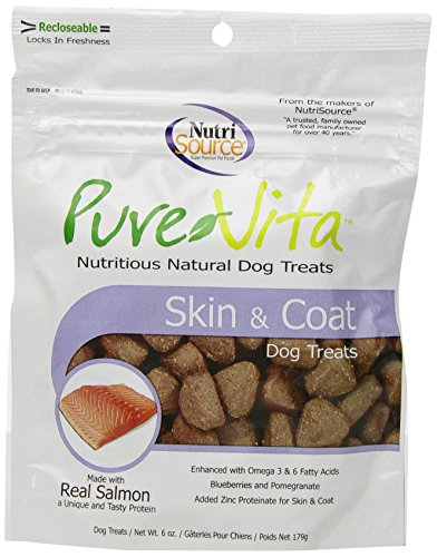 Pure Vita Skin & Coat Dog Treats with Real Salmon, 6oz (3-Pack) (Treats Pure)