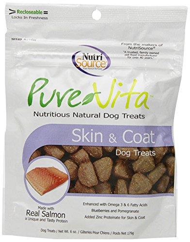 Pure Vita Skin & Coat Dog Treats with Real Salmon, 6oz (3-Pack) (Pure Treats)