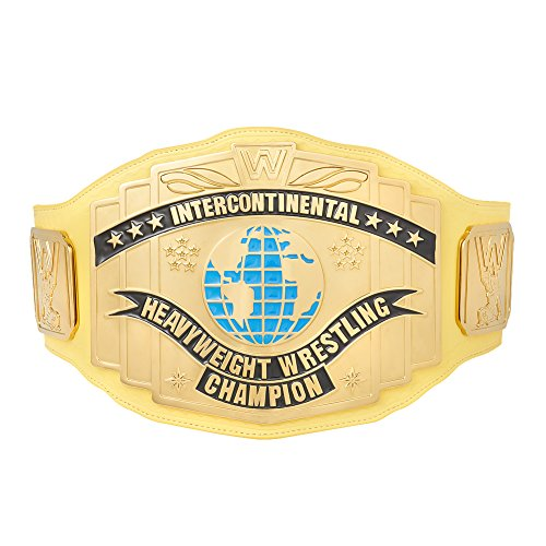 Official WWE Authentic Unisex WWE Yellow Intercontinental Championship Replica Title Belt  One size Multicoloured