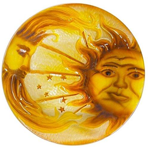 Continental Art Center 18'' sun and moon glass plate by Continental Art Center
