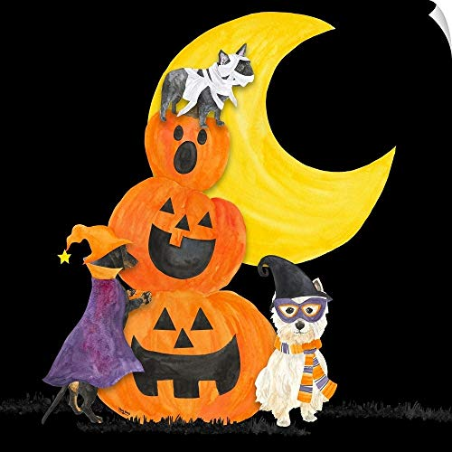 CANVAS ON DEMAND Fright Night Friends IV Pumpkin Stack Wall Peel Art Print, 12