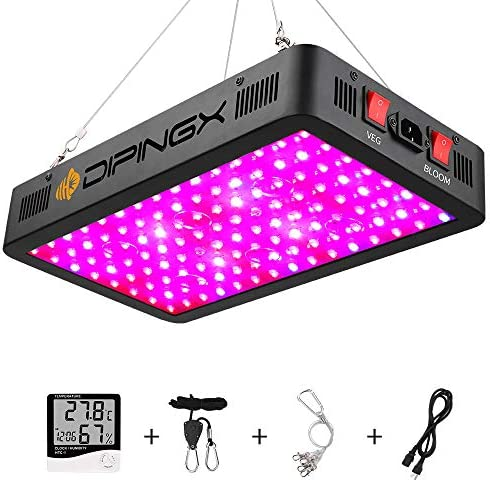 DIPINGX Upgraded Full Spectrum 1200W Led Grow Light Veg Bloom Double Switch Led Growing Lamp for Greenhouse Indoor Plant Veg and Flower Dual-Chip 10W LEDs 120Pcs 1200W