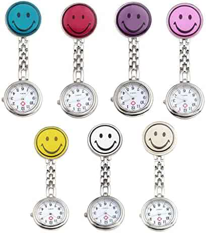 Top Plaza Pack of 7 Colorful Smiling Face Nurse Fob Clip On Brooch Hanging Pocket Watches