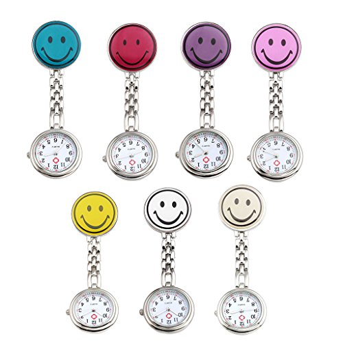Top Plaza Pack of 7 Colorful Smiling Face Nurse Fob Clip On Brooch Hanging Pocket - Chain Watch Lapel