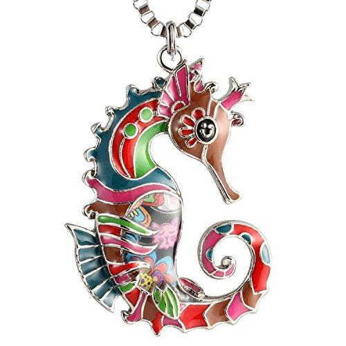 Luckeyui Cute Seahorse Keychain for Women Unique Enamel Sea Life Keyring
