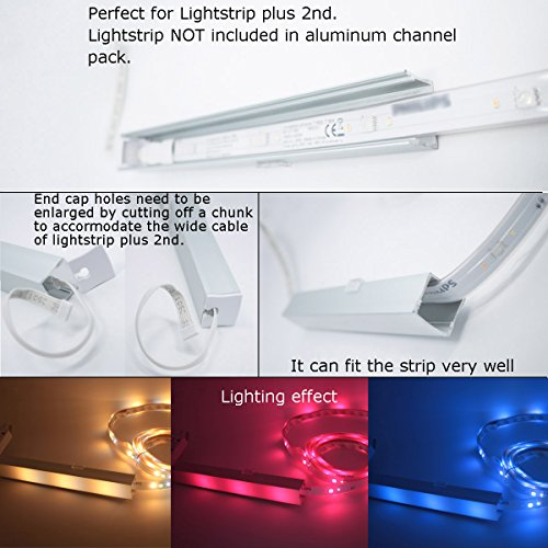 Litever 6 Pack Aluminum LED Channel - for LED Strip Mounting-3.3ft/1 Meter Aluminum Channels, 23mm Wide 21mm Deep, End Caps, Brackets, Spotless Lighting Effect with Frosted Cover-6-PACK-[LL-WH-2420] by Litever (Image #4)