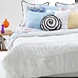 Sky White Pucker Stripe Duvet Cover Set with Standard Sham; TWIN