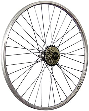 Taylor-Wheels 26 Pulgadas Rueda Trasera Bici piñón Rueda Libre 7 Plateado
