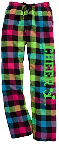 JANT girl Cheer Neon Plaid Lounge Flannel Pant with Pockets -