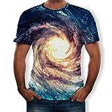 Kirbaez Men's T-Shirt Summer Fashion Short Sleeve Slim Fit Personality 3D Cool Printed Casual Sport Shirts Tops Blouse Blue