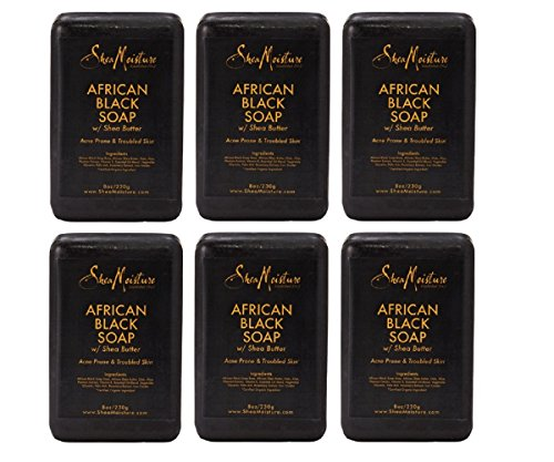 Shea Moisture African Black Soap Bar 8.0 Once. Pack of 6