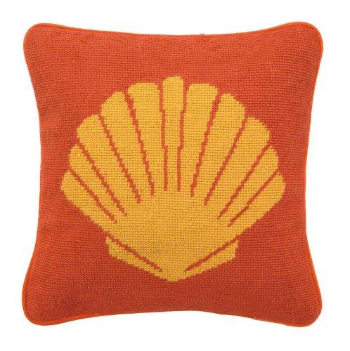 Peking Handicraft Seashell Needlepoint Pillow, 12 by 12-Inch, Orange (Pillow Needlepoint Shell)