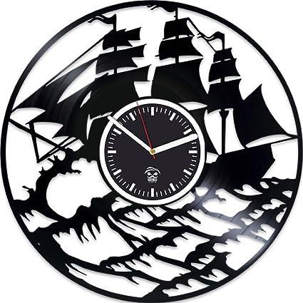 Ship Vinyl Wall Clock, Best Gift For Boy, Ocean Vinyl Record Clock, Kovides