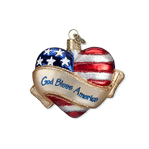 Old World Christmas Ornaments: God Bless America Heart Glass Blown Ornaments for Christmas Tree ()