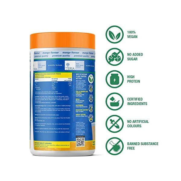 Fast&Up Plant Protein (450g) 30g Protein 100% Organic Daily Vital Nutrition Vegan Protein Drink For Men & Women - Gluten… 2021 July PACKED WITH PLANT POWER: Fast&Up Terra Plant Protein packs 34g of Plant Protein along with 5.8 g BCAA and 5.5 g Glutamine per serving that helps boost immunity, muscle health & faster recovery SCIENTIFIC FORMULATION: It is a Plant based complete Protein with all essential aminos combining pea protein, brown rice protein with added Vegan MCT's and Beetroot Extract for energy. SUPPORT RECOVERY POST WORKOUT: With added ingredients like 5.8g BCAA and 5.5g Glutamine that help build muscle and support recovery, Fast&Up Terra Plant Protein is apt for athletes and fitness enthusiasts. With a solid, well balanced formulation and premium quality ingredients, Fast&Up Terra Plant Protein can be had by your entire family irrespective of the age.