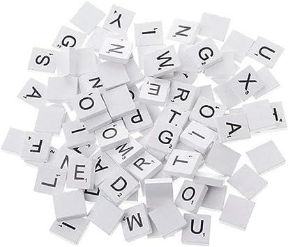 100 Piezas De Madera Del Alfabeto Scrabble Azulejos Plaza De Las Letras Del Alfabeto Bloque Con Números Para La Artesanía Blanca: Amazon.es: Juguetes y juegos
