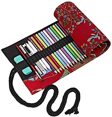 abaría - Bolsa de lápiz de Colores, Grande Estuche Enrollable 72 lápices, portalápices de Lona, Organizador para Arte, árbol Rojo: Amazon.es: Hogar