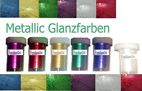 Metallic Farben Set 6 x 12ml Lebensmittelfarben Speisefarbe