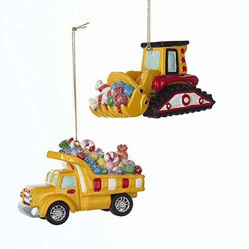 Kurt Adler CANDY FILLED CONSTRUCTION VEHICLE ORNAMENT - 2 ASSORTED: DUMP TRUCK AND ()