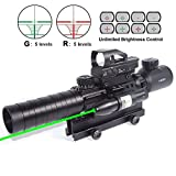 Cheap CRUSHUNT Rifle Scope 3-9x32EG Rangefinder Illuminated Optics Reflex 4 Reticle Red&Green Sight Green Dot Laser Sight 1″ Compact High Riser Mount