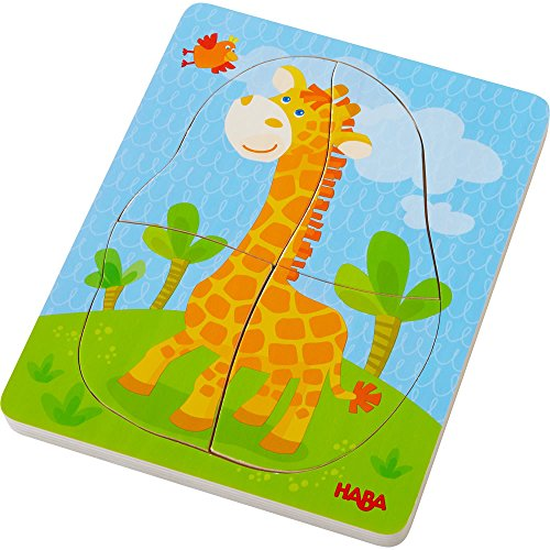 HABA Wild Animals 10 Piece Layered Wooden Puzzle for Ages 12 Months and Up ()