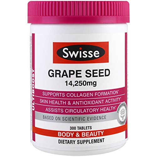 Swisse Ultiboost Grape Seed Supplement - Promotes Skin Health & Collagen Production - Improves Circulation - Vitamin C & Antioxidant Rich (300 Tablets)