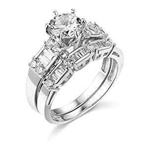 14k REAL Yellow OR White Gold SOLID Wedding Engagement Ring and Wedding Band 2 Piece Set