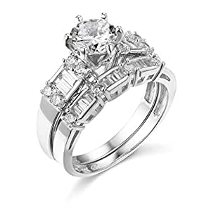Amazon.com: TWJC 14k Yellow OR White Gold Solid Wedding