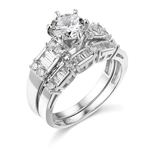 TWJC 14k White Gold SOLID Wedding Engagement Ring and Wedding Band 2 Piece Set - Size - Engagement Gold White Setting