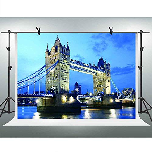 FHZON 10x7ft London's Tower Bridge Photography Backdrop Night Bright Light Blue Sky Background Themed Party YouTube Backdrops Photo Booth Studio Props LSFH819 -