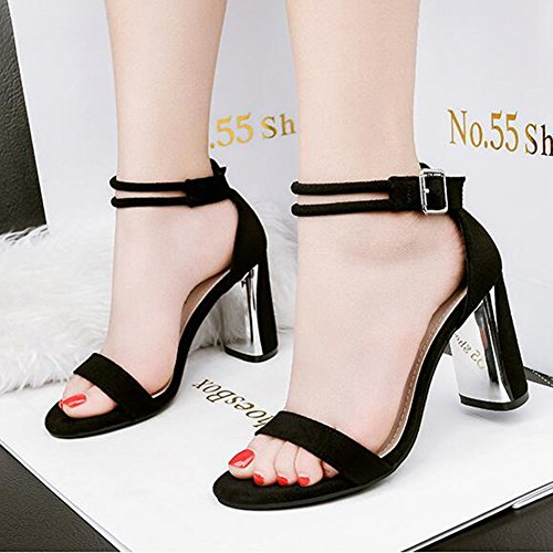 Dressy Women's Buckle High Strap Black Open Block Faux Toe Sandals Heel Ankle Aisun Suede qp5qg