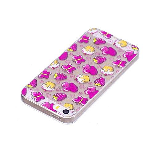 Coque iPhone SE / 5 / 5S Amoureux Premium Gel TPU Souple Silicone Transparent Clair Bumper Protection Housse Arrière Étui Pour Apple iPhone SE / 5 / 5S Avec Deux cadeau
